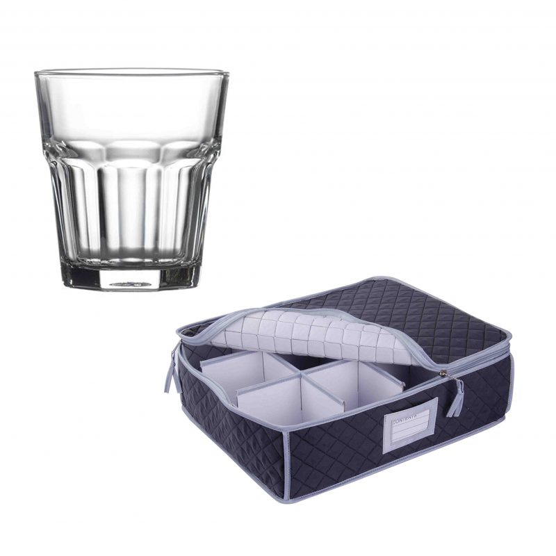 SORRY OUT OF STOCK - Quilted Storage Case and Tumbler Glasses - 12 Pack