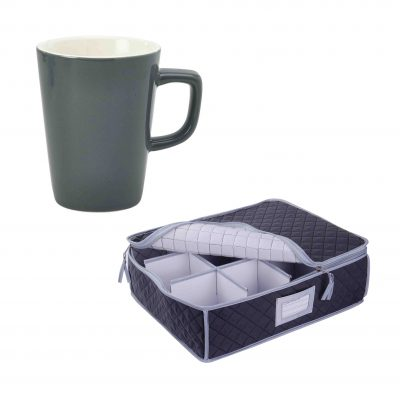 SORRY OUT OF STOCK Quilted Storage Case and Grey Latte Mug - 12 Pack