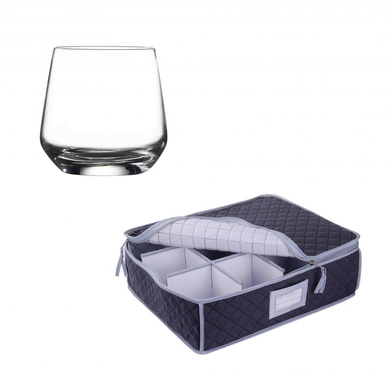 SORRY OUT OF STOCK - Glassware Quilted Storage Case and 12 Pack Lal Tumbler Glasses