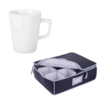 SORRY OUT OF STOCK - Quilted Storage Case and White Latte Mug - 12 Pack