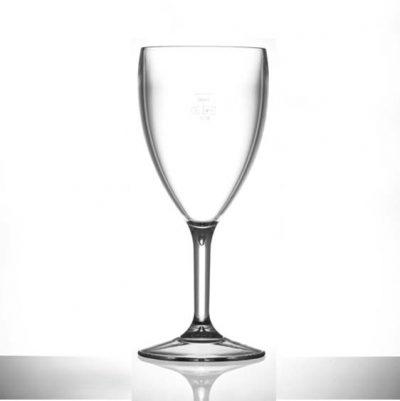 Polycarbonate Plastic Wine Glasses, 14oz, CE lined @ 250ml - 12 Pack