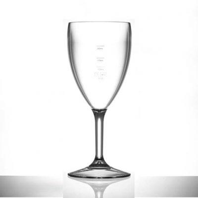 Polycarbonate Plastic Wine Glasses, 14oz, CE lined @ 125ml, 175ml & 250ml - 12 Pack