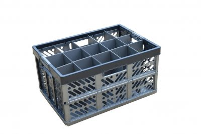 3. Folding Crate - Glassware Box - 15 cells - ref. 245-15-FC