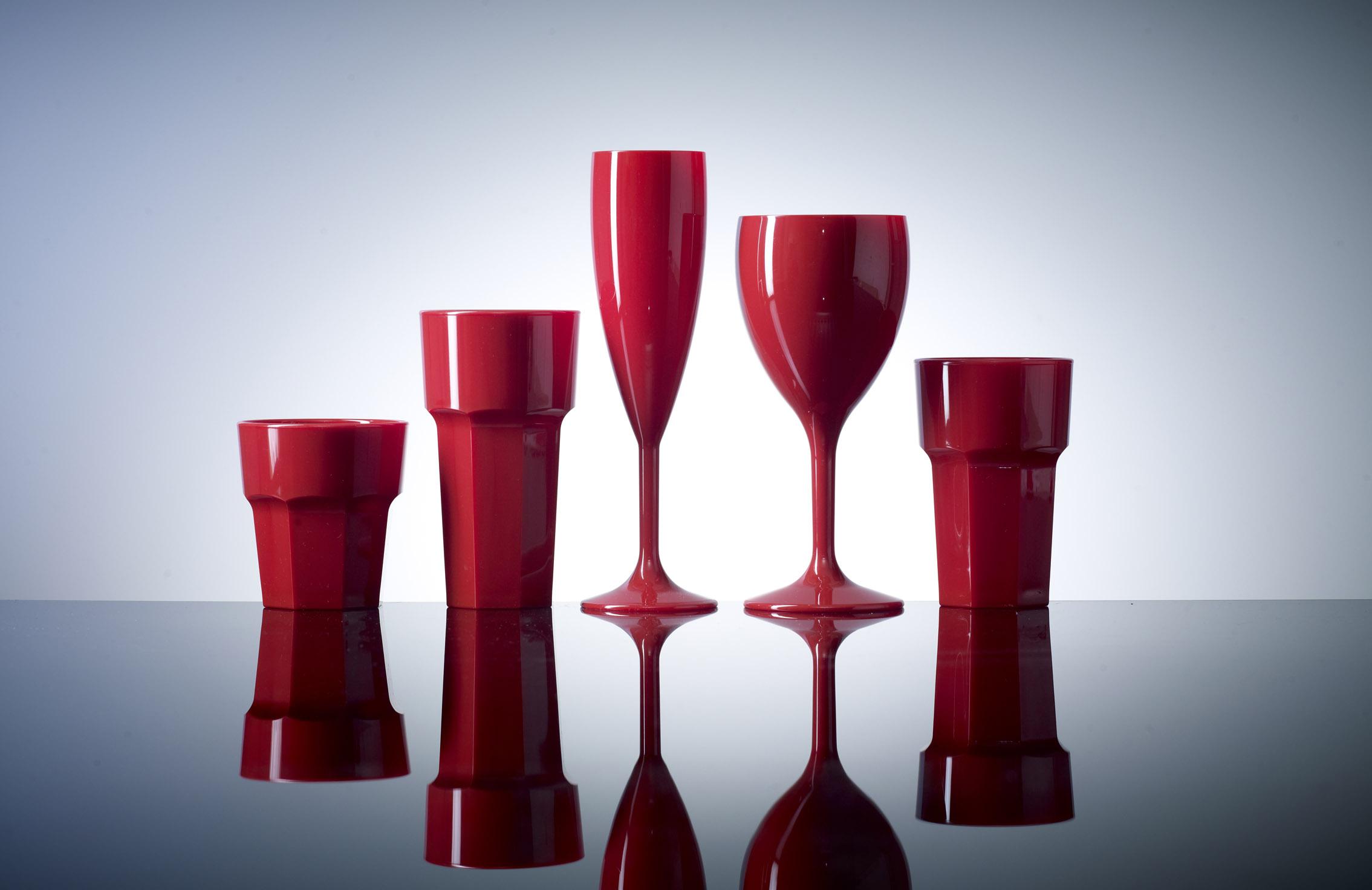 Red Reusable Polycarbonate Plastic Glasses