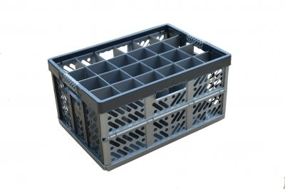4. Folding Crate - Glassware Box - 24 cells - ref. 245-24-FC