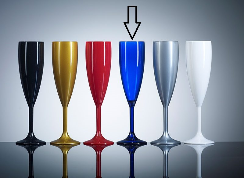 Coloured Polycabonate Champagne flute - Blue