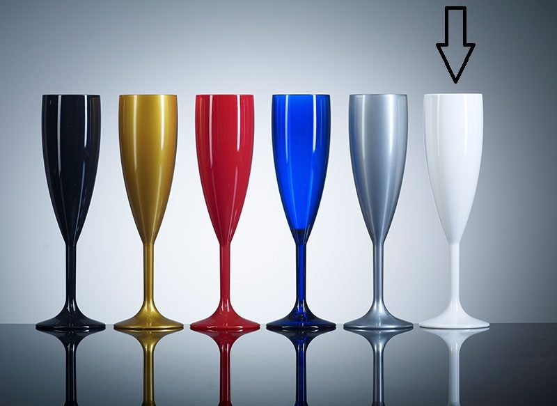 White Champagne flutes, Coloured Polycabonate - White