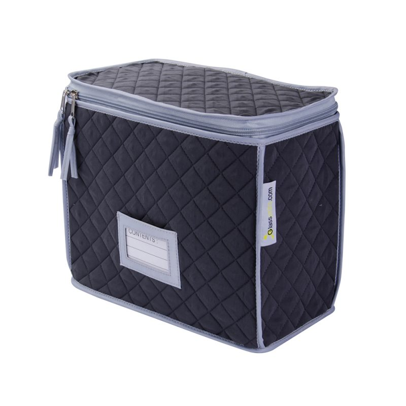 Champagne and Wine Glass Quilted Case - 6 Cells