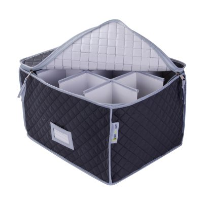 Case for Storing Wine Glasses - Quilted Wine Glass Case - 12 Cells