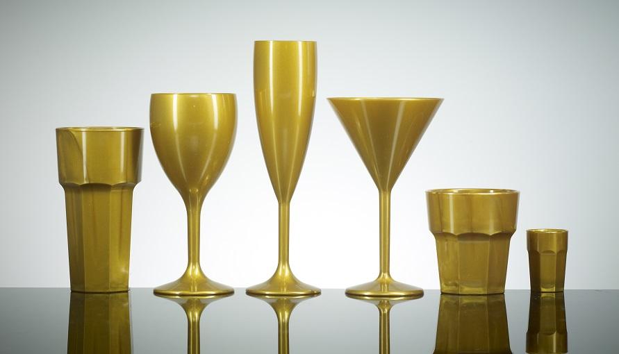 Gold Reusable Polycarbonate Plastic Glasses