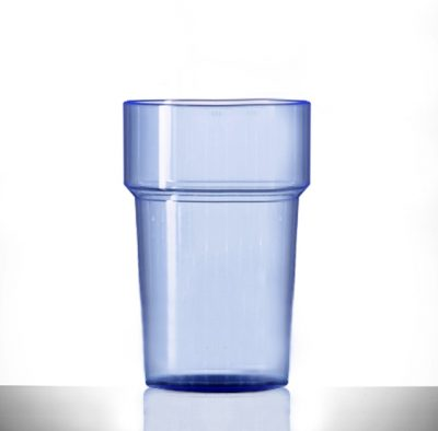 Neon Blue Econ Rigid Half Pint Polystyrene Plastic Tumbler Glass, 284ml / 28.4cl / 10oz - 100 Pack