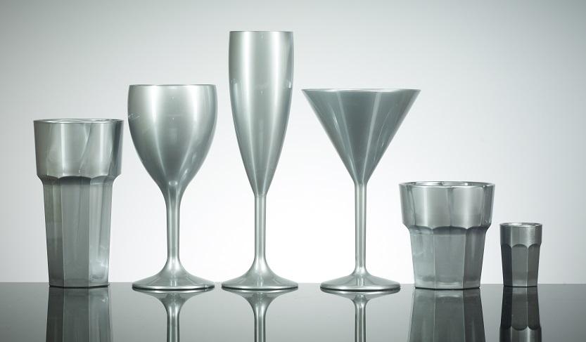 Silver Reusable Polycarbonate Plastic Glasses