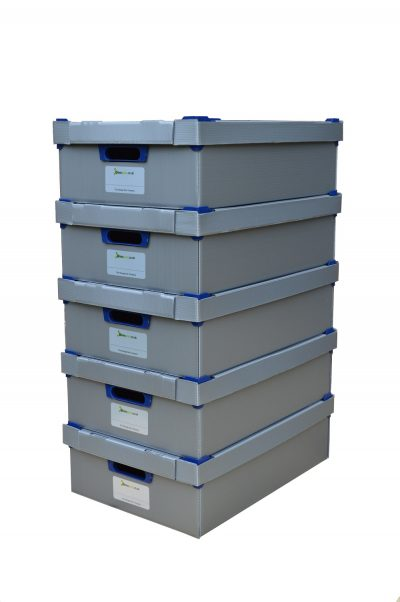 2. Small Stacking Storage Boxes, Pack of 5, Small, Height 145mm