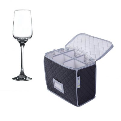 Champagne Flute Storage Case and 6 pack of Lal Champagne / Small Wine Glass 23cl / 8oz