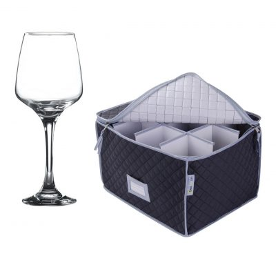 Wine Glass Storage Case and 12 Pack Lal Large Wine Glass 40cl / 14oz