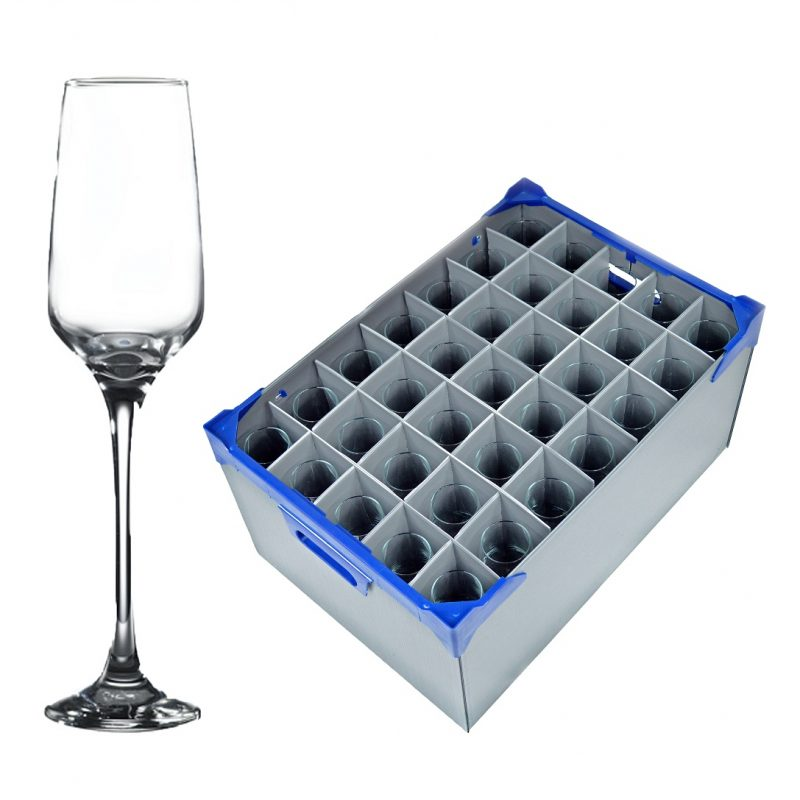 Lal Champagne / Wine Flutes 23cl / 8oz - 35 Pack and Glassware Storage Box