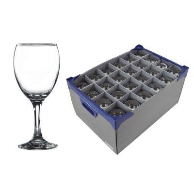 24 off Empire Wine Glasses, 34cl / 12oz and Glassware Storage Box