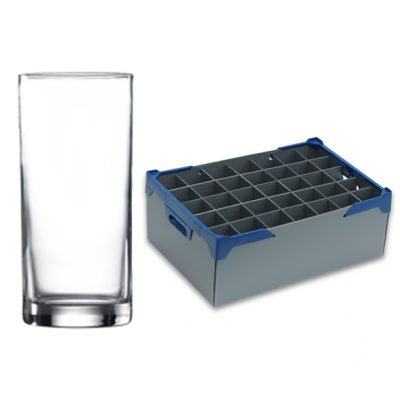 Liberty Hiball Tumblers, 29cl / 10oz - 35 Pack and Glassware Storage Box