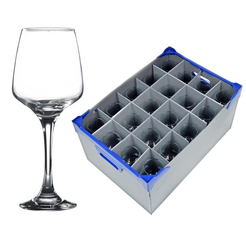 Lal Wine Glass 40cl / 14oz - 20 Pack and Glassware Storage Box