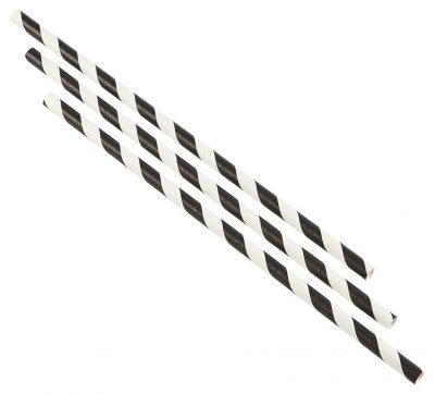 Paper Straws Black and White Stripes (500pcs)