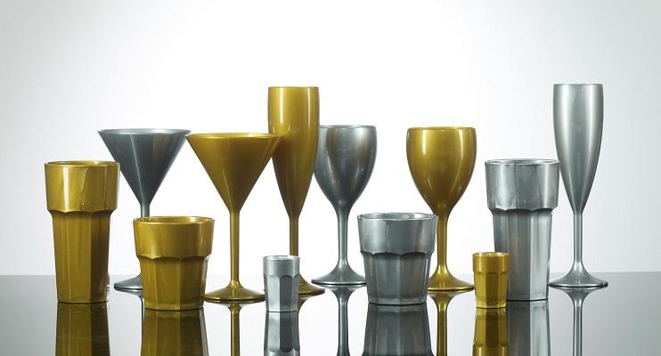 Plastic Glassware - Gold and Silver Glasses