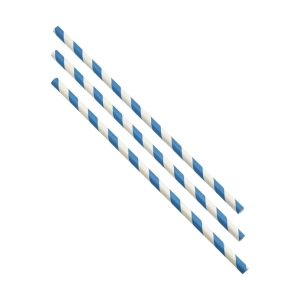 Paper Straws Blue and White Stripes 20cm (500pcs)