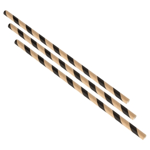 Paper Straws Brown and Black Stripes 20cm (500pcs)