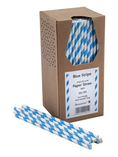 Blue & White Stripe Paper Straws, Box of 250, £5.60