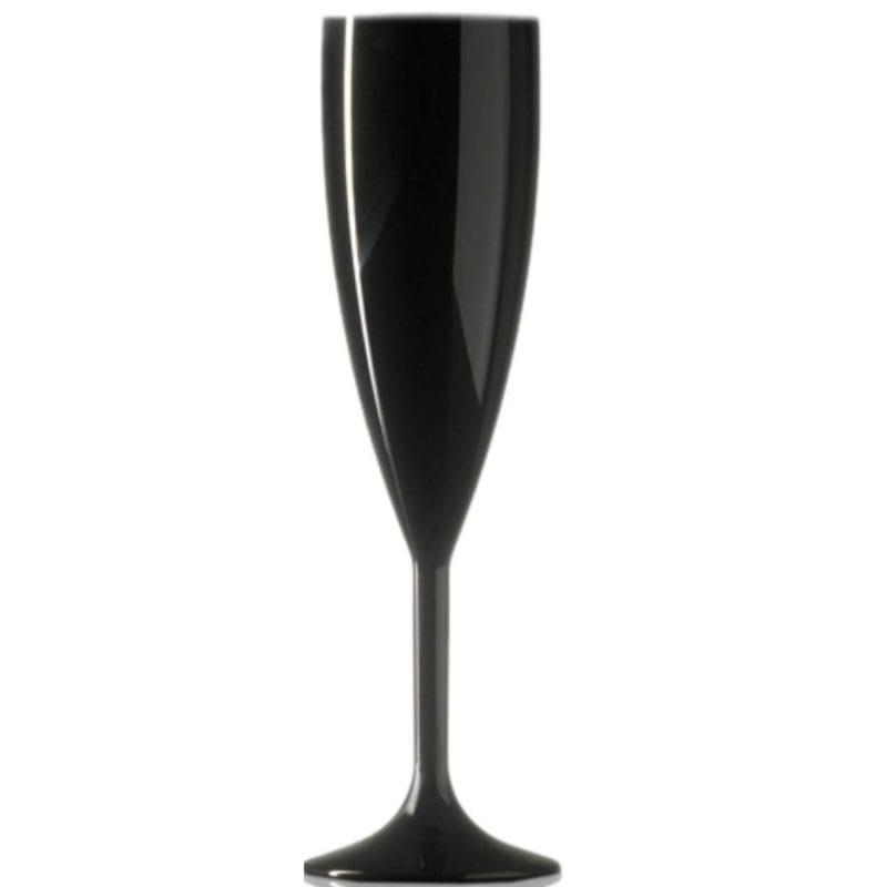 Elite Premium Black Polycarbonate Champagne Flutes