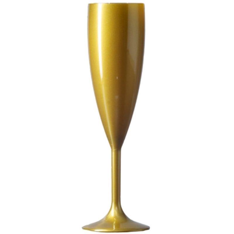 Elite Plastic Gold Champagne Flutes - Polycarbonate