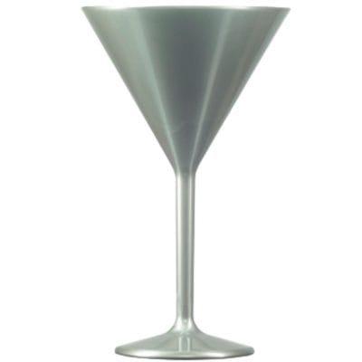 Silver Plastic Martini Glasses