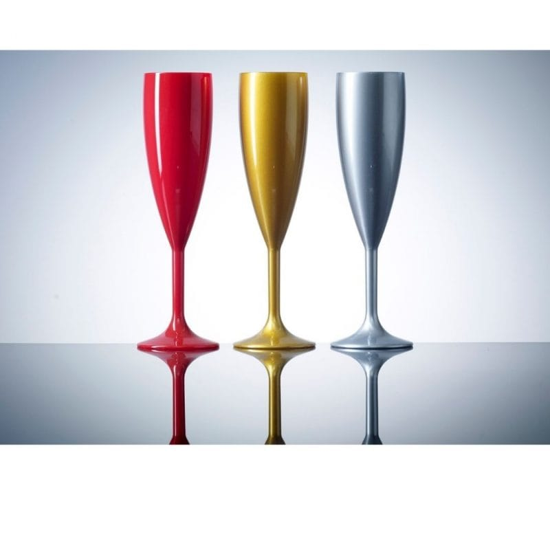 Elite Premium Red Polycarbonate Champagne Flutes