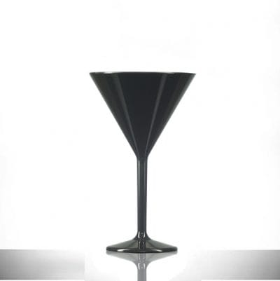 Premium Polycarbonate Plastic Black Martini Glass 7oz - 6 Pack