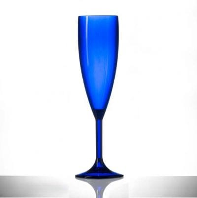 Blue Champagne Flutes, Premium Polycarbonate Glasses - 6 Pack