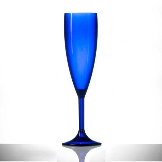 Blue Champagne Flutes, Premium Polycarbonate Glasses - 6 Pack
