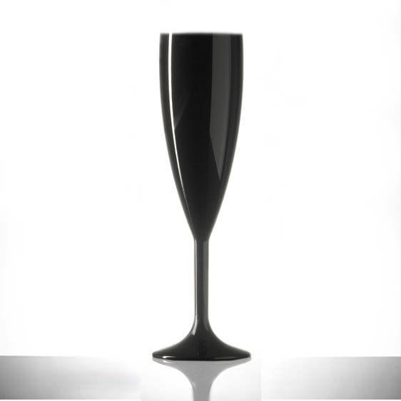 Elite Premium Black Polycarbonate Champagne Flutes - 6 Pack