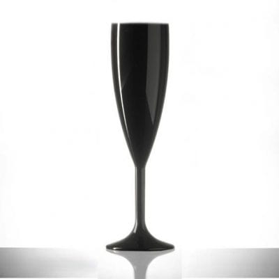 Black Champagne Flutes Reusable Plastic - 24 Pack