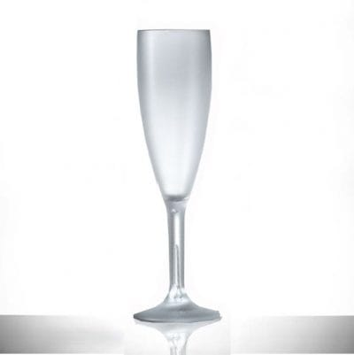 Frosted Reusable Plastic 6.6oz Champagne Flute - 24 Pack