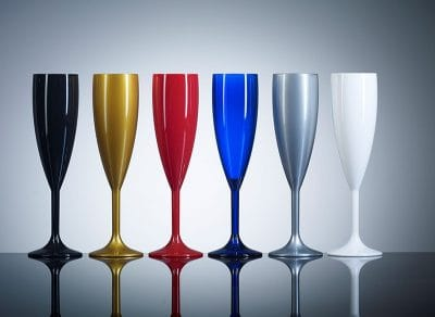 Plastic Reusable Champagne Flutes, 12 Pack, 2 x Red, 2 x Blue, 2 x Gold, 2 x Silver, 2 x White, 2 x Black