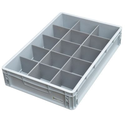 3. Glassware Crate = 15 cells, Glass max height = 100mm, Glass width = 82 to 97mm