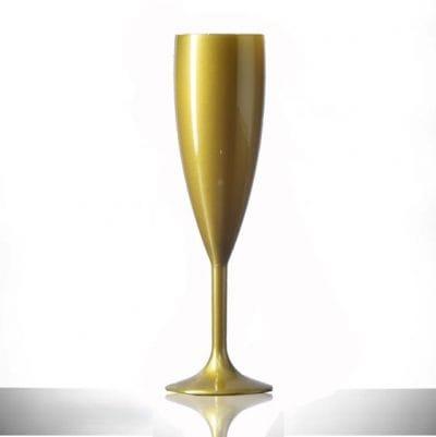 Elite Premium Gold Polycarbonate Champagne Flutes - 6 Pack
