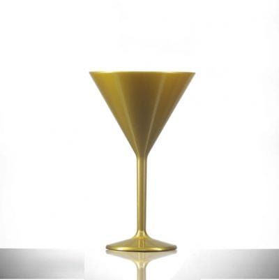 Premium Gold Polycarbonate Plastic Martini Glass 7oz - 6 Pack