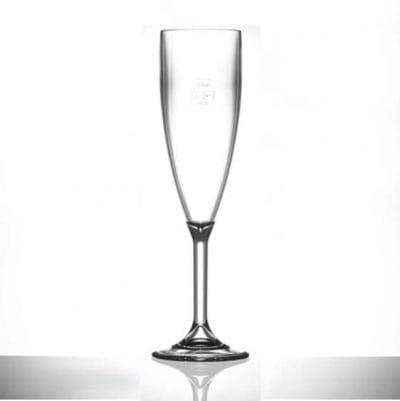 Lined @ 125ml Elite Premium Polycarbonate Champagne Flutes CE - 12 Pack