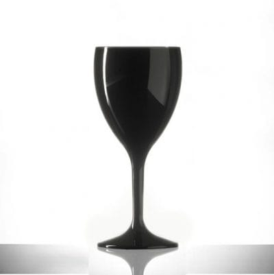 Black Plastic Wine Glasses Elite Premium 11oz Polycarbonate - 6 Pack