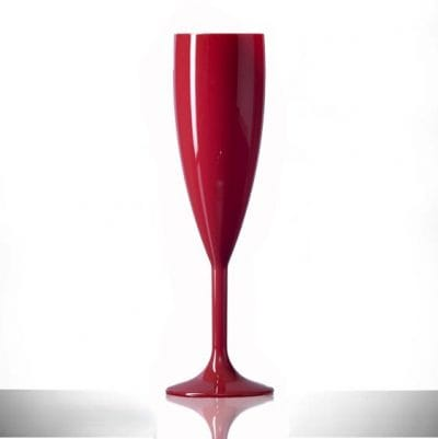 Elite Premium Red Polycarbonate Champagne Flutes - 6 Pack