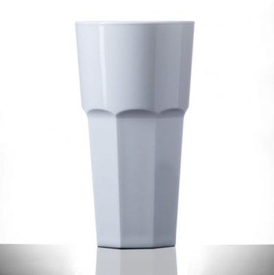Elite Remedy Polycarbonate White Pint / 20oz Tall Glasses - 24 Pack