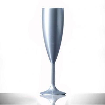 Elite Premium Silver Polycarbonate Champagne Flutes - 6 Pack