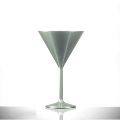 Premium Silver 7oz Martini Glass, Polycarbonate Plastic' 6 Pack