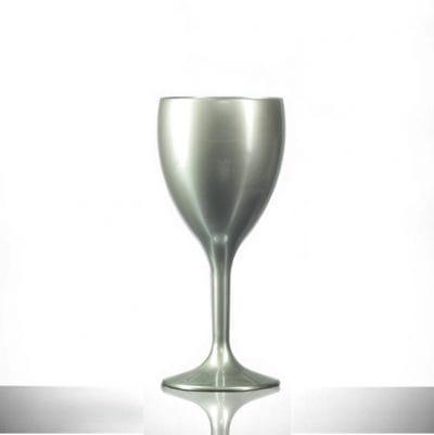 Silver Polycarbonate Plastic Wine Glasses, 9oz - 6 Pack