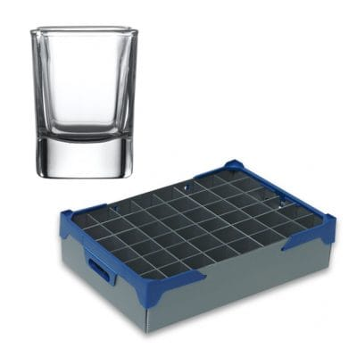 Out of stock - Shot Glasses, Viva Square Sided Shot Glass 5.5cl / 1.95oz and Glassware Storage Box - 48 Pack